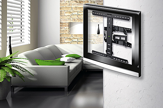 flache vollbewegliche tv wandhalterungen von hama i. Black Bedroom Furniture Sets. Home Design Ideas